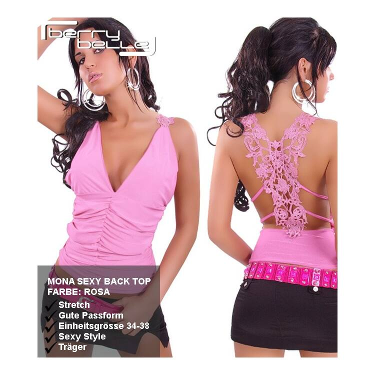 Mona Sexy Back Top - Rosa