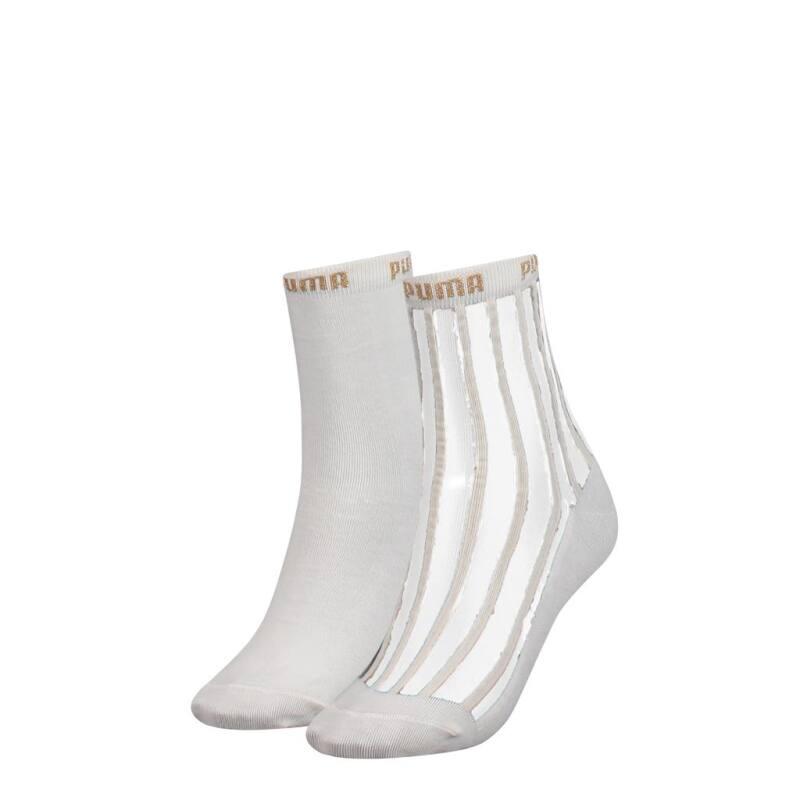 154a84f110701e Damen Transparent Streifen Socken/Uni 2er Pack